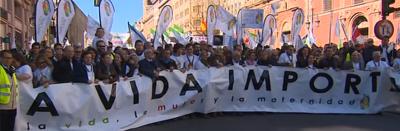 Miles de persones claman 'cada vida importa' en Madrid y por el fin del holocausto de interrumpir embarazos.