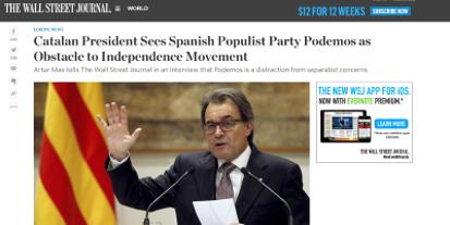 Artur Mas muerto de miedo, dice la irrupción de CIUDADANOS y PODEMOS es muy negativa para el separatis