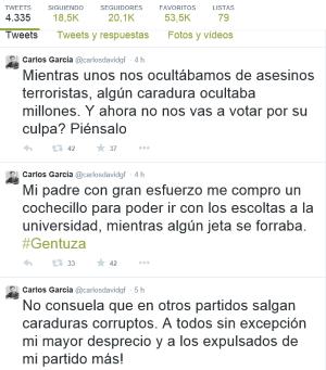 Concejal del PP en Elorrio Mientras unos nos ocultábamos de asesinos terroristas, caraduras del PP ocultaban millones de euros,...