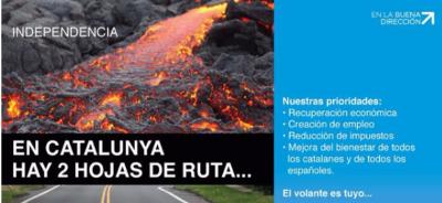 El PP Catalán se niega a exigir la aplicación del artículo 155 de CE y se escuda detrás de un cartel apocalíptico, - copia