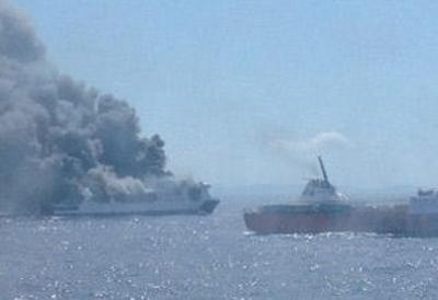 El buque Sorrento de Trasmediterránea se incendia a 18 millas de sa Dragonera,  cubría la ruta Palma-Valencia,