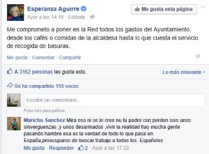 Esperanza Aguirre se compromete vivir a 100-100 al coste de los ciudadanos hasta los cafés si es elegida alcaldesa de Madrid..