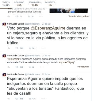La monja que dio el abrazo de Judas a Cataluña contra España critica a su cómplice Esperanza Aguirre.
