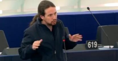 Pablo Iglesias lleva al Parlamento Europeo la indignación por el caso de Rodrigo Rato vinculado con Luis de Guindos - copia