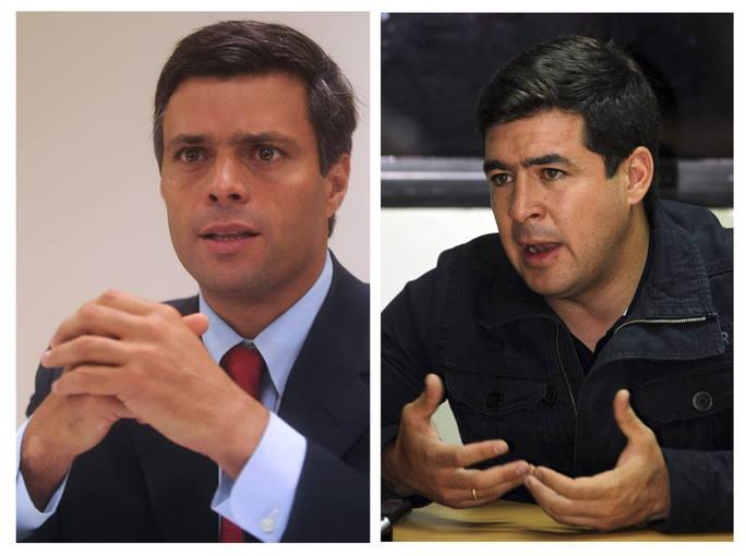 Foto archivo de los líderes opositores venezolanos Leopoldo López (izq) y Daniel Ceballos (dcha). efe /Fernando B. / Jorge C.