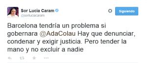 La monja separatista pide el voto para el separatismo y ataca a coalición Bcn en Común de Ada Colau y Podemos..