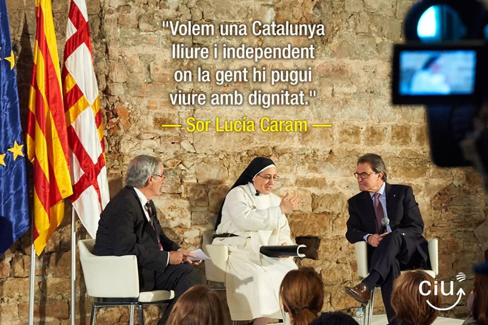 Monja Sor Lucia Queremos una Cataluña libre, independiente y chivata que la mujer de Mas la financia; no, no no lo diga