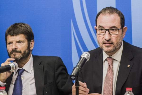 Consejero de Interior separatista, Ramon Maria Espadaler y el director de los Mossos d'Esquadra, el separatista Albert Batlle / foto Xavier Cervera