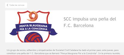 SCC impulsa una peña del F.C. Barcelona