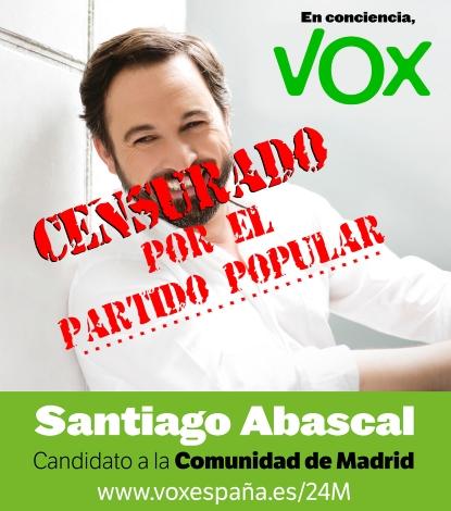 Vox denuncia la mordaza discriminatoria de su candidato en Telemadrid por Cristina Cifuentes del Partido Popular