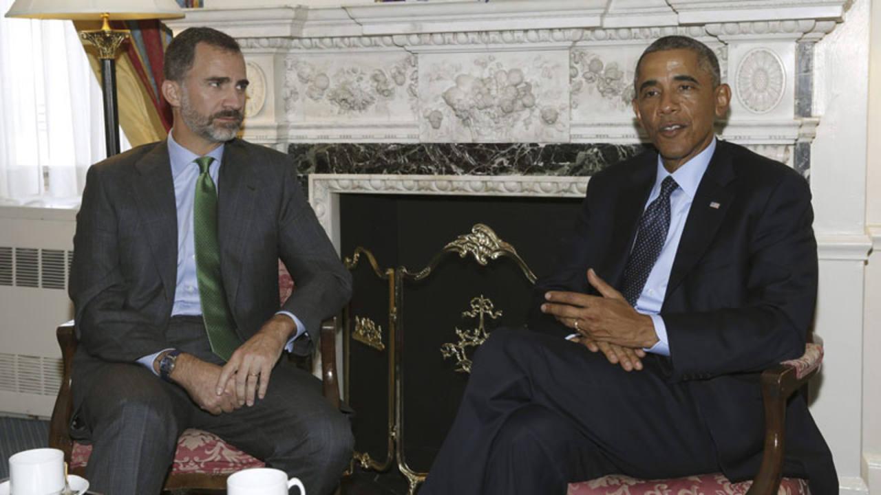 Su Majestad el rey Felipe VI reunido con el presidente estadounidense, Barack Obama