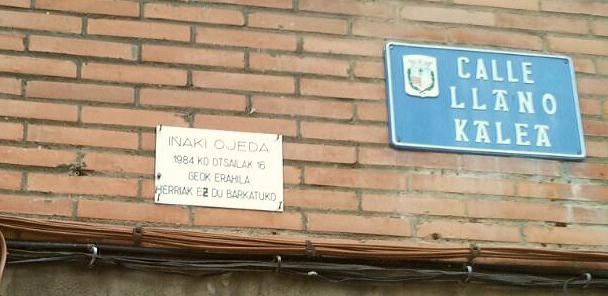 COVITE exige «la retirada de una placa» de ETA «en Barakaldo en la que se acusa a la Policía de un asesinato»