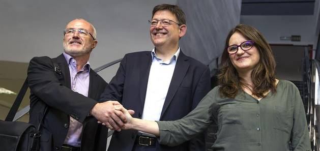 PSOE, «nacionalistas» de Compromís y Podemos han firmado el pacto para designar el presidente de Valencia