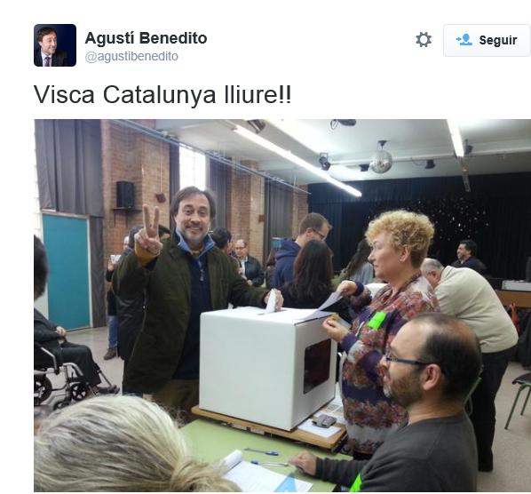 Agustí Bemedito -  viva cataluña libre, visca catalunya lluire, 9 noviembre 2014