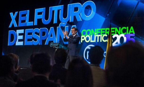 El presidente del Gobierno, Mariano Rajoy, durante la conferencia política del PP en la que pretende sentar las bases del programa electoral. EFE