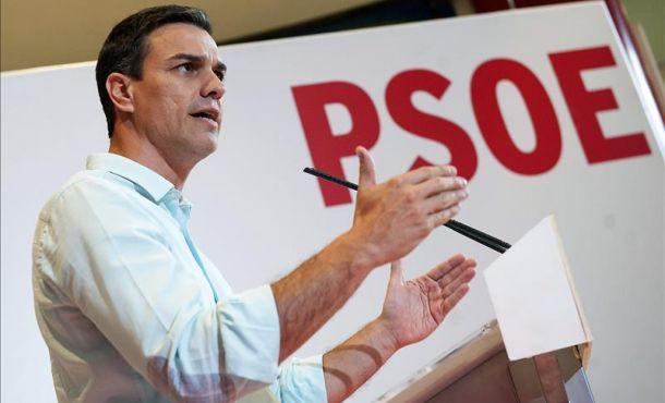 El secretario general del PSOE, Pedro Sánchez, durante su intervención en el acto con cargos orgánicos EFE