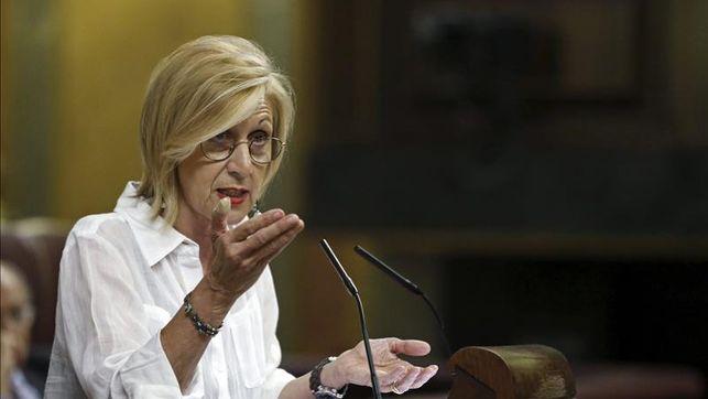 La líder de UPyD, Rosa Díez, durante su intervención en el pleno del Congreso de los Diputados. EFEArchivo