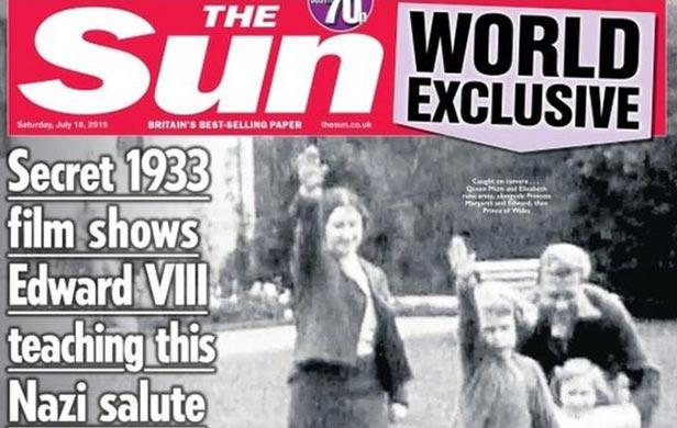 La reina de Inglaterra, Isabel II, haciendo saludo Nazi hace 82 años, Video del diario The Sun - copia