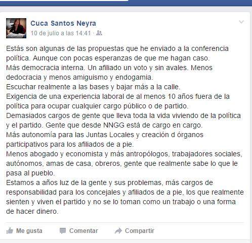 La secretaria del PP (Sabadell) reclama a Rajoy «Menos dedocracia, amiguismo y endogamia» en el Partido Popular