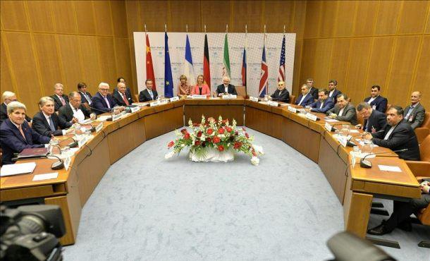Vista general de la rueda de prensa celebrada en el ámbito de la reunión sobre el programa nuclear iraní en Viena (Austria). EFE