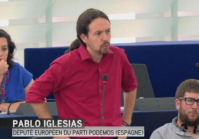 el secretario general de Podemos durante su intevención en el parlamento europeo, hoy