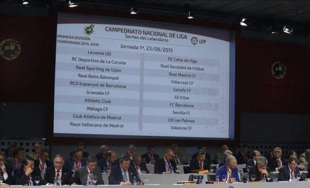 resultado final del sorteo del calendario de la Liga BBVA y Adelante de la temporada 2015-2016,