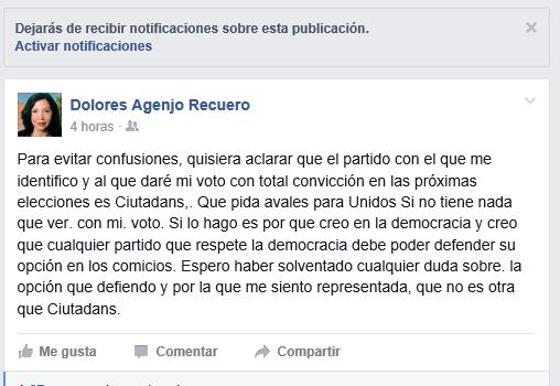 Dolores Agenjo Recuero «Daré mi voto con total convicción en las próximas elecciones es Ciutadans»