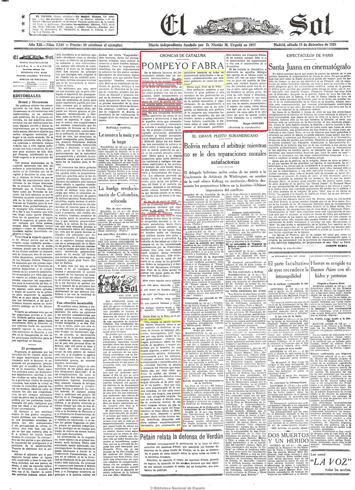 El Sol (Madrid. 1917). 15-12-1928 Pompeu