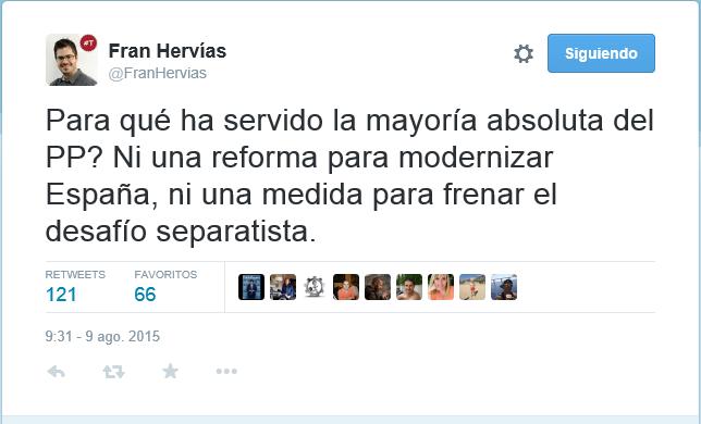 Fran Hervías critica los 4 años de mayoría absoluta del PP