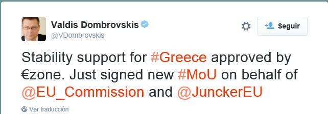 Grecia recibe la primera transferencia de 26.000 millones de euros del tercer rescate.