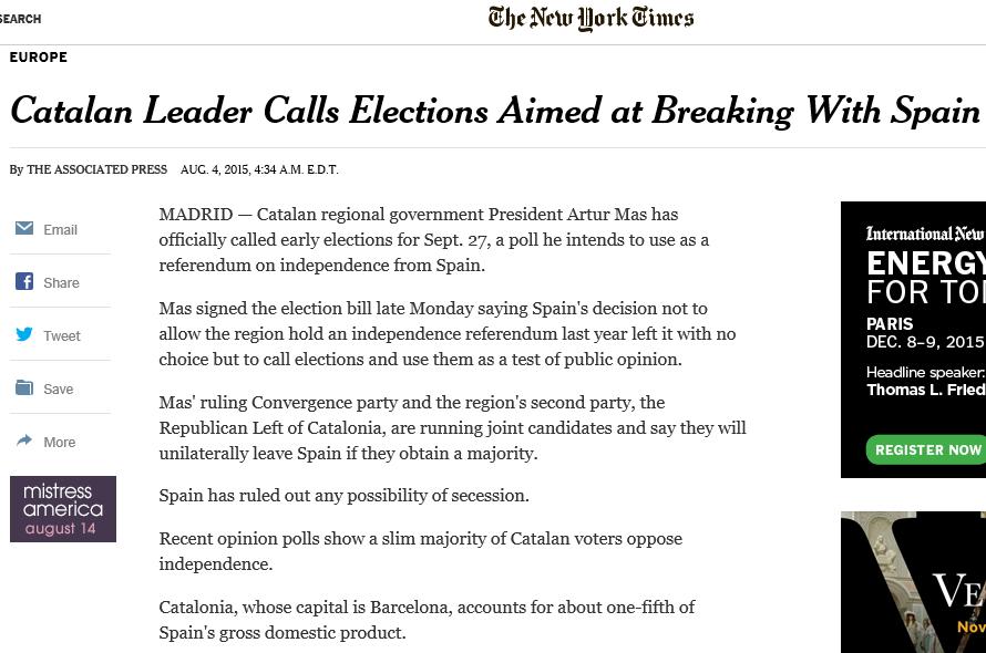 The New York Times «El Líder catalán convoca elecciones encaminadas a romper con España