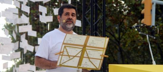 El presidente de ANC, Jordi Sánchez, durante su discurso en la Vía de Libertad
