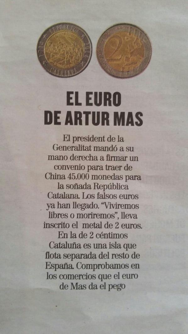 Abascal denuncia a Artur Mas por acunar en negro la moneda separatista