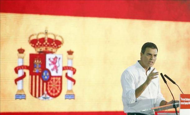 Footografía, El secretario general del PSOE, Pedro Sánchez, durante el acto de campaña en Santa Coloma de Gramenet (Barcelona), en apoyo del candidato del PSC, Miquel Iceta, EFE