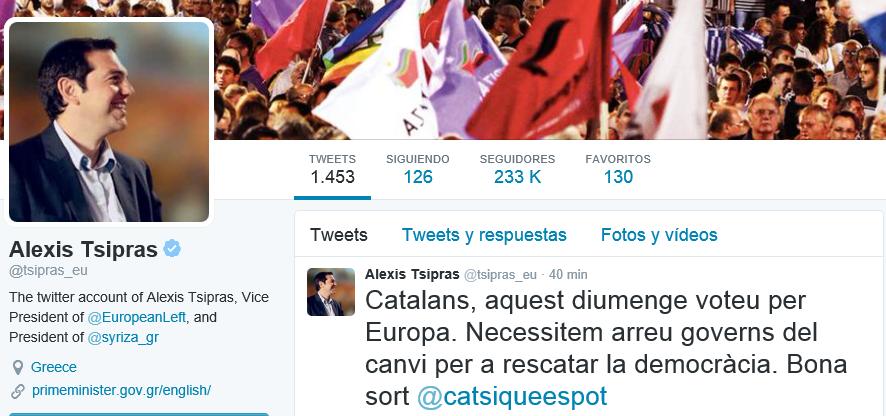 alexis Tsipras apoya a Cataluña Si que se puede