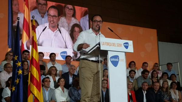 El líder del partido democristiano catalán (UDC) al 27-s, Ramon Espadaler, durante su discurso de cierre de campaña
