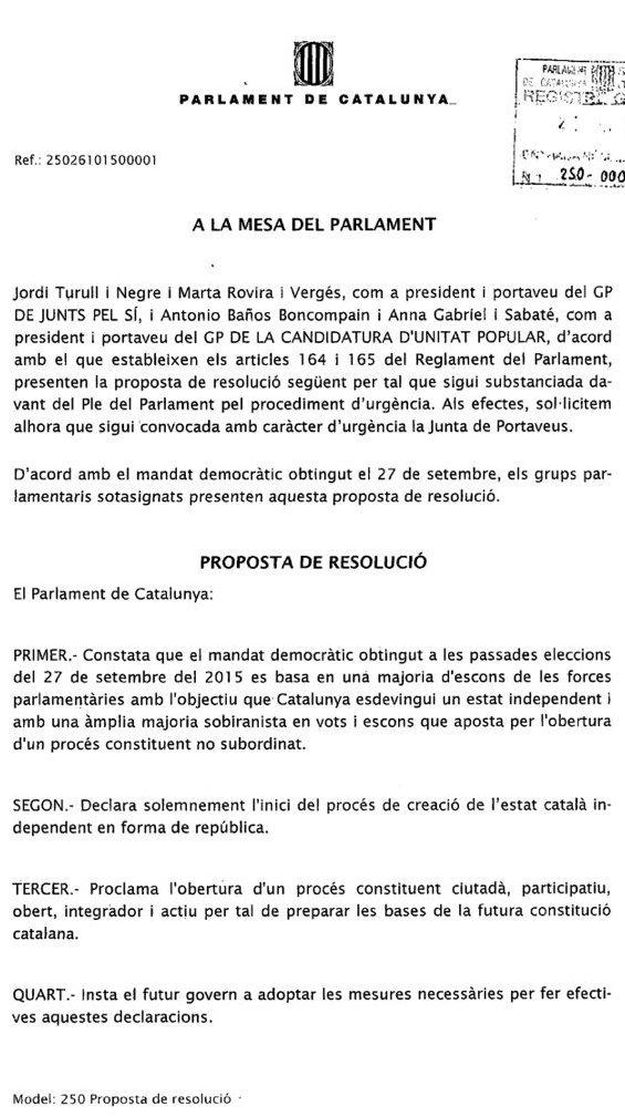 JxSí y CUP declaran oficialmente el inicio del Golpe de Estado, texto completo registrado hoy