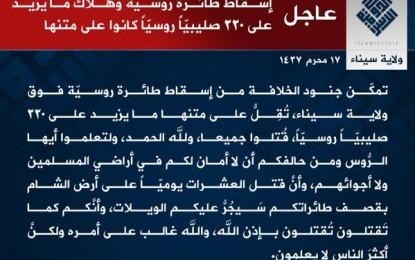 Yihadistas del EIIL reivindican el atentado del avión en el Sinaí con 224 muertos y Rusia lo niega