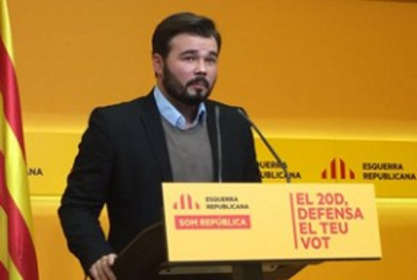 """Rufián: """"El Referéndum (1-O) esimparable, unademocracia es una urna""""aunque """"guste poco"""""""