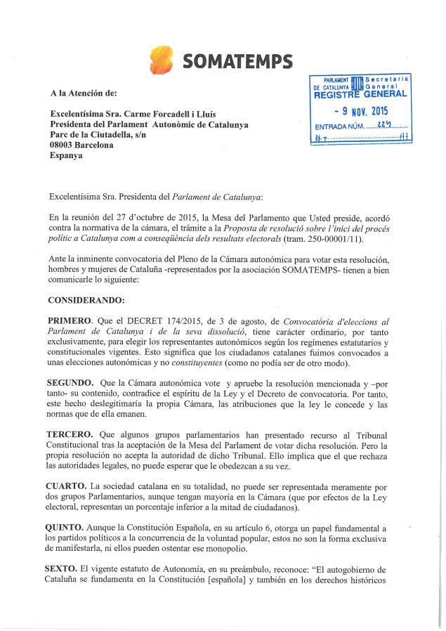 SOMATEMPS «deslegitima» al «Parlamento de Cataluña» y llama a «la desobediencia Civil».