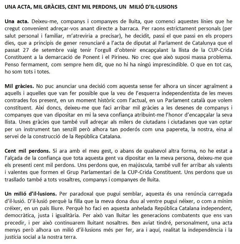 Carta de dimisión de Ramon Usall Santa, el diputado autonómico de CUP