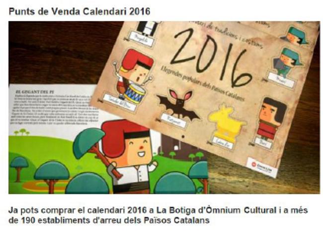 """CCV exige """"la retirada del calendario"""" separatista de Ómnium rebozado de """"mentiras históricas"""""""