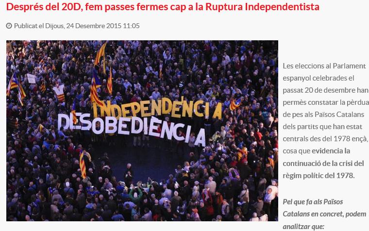 Pueblo Libre (el 50% de CUP) pide un voto a favor de la investidura de Artur Mas domingo 27D