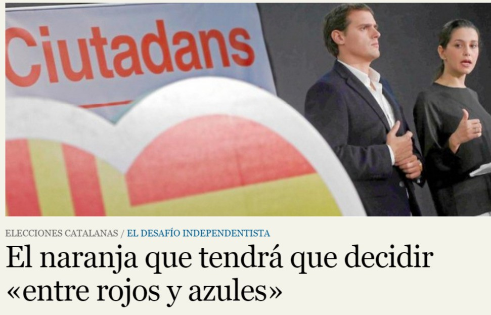 Los lideres de Ciudadanos en campaña con banderas de España y de Cataluña.