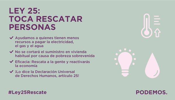 """Carta de Podemos a la futura cámara española: """"Ley 25, toca rescata personas"""" el 13-E 2016"""