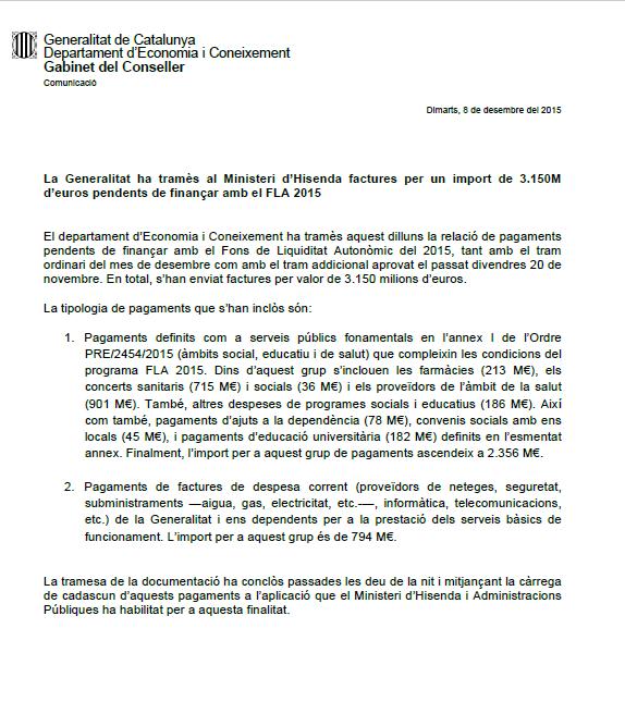 facturas impagas por el gobierno catalanista de Artur Mas por lo que queda de 2015. lasvocesdelpueblo