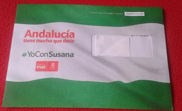 Imágenes de sobres de campaña del PSOE Andaluz. lasvocesdelpueblo.