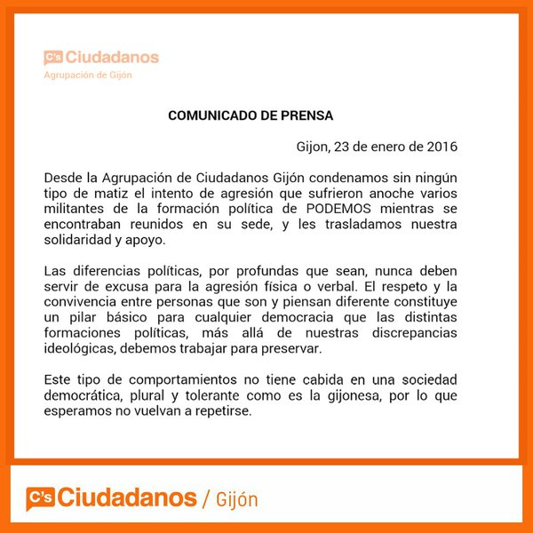 nota de prensa de Ciudadanos Gijón