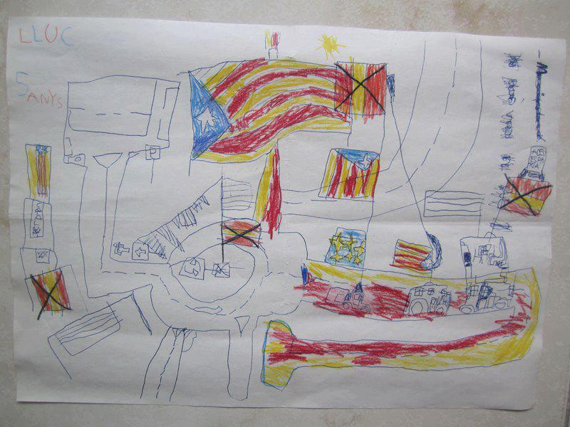 Blog 'Productos catalanes y vascos… No gracias'. 7 de noviembre de 2012. Adoctrinamiento en las escuelas, una imagen vale más que mil palabras. Esto es a lo que se dedica el profesorado catalán, a fomentar el odio. Esa limpieza étnica que hizo Pujol en la escuela catalana durante muchos años, ha dado un profesorado totalmente parcial. (Si, ese Jordi Pujol racista que dijo esto de los Andaluces). Analicemos el dibujo. Para empezar, ¿alguien en su sano juicio cree que un niño de 5 años va a saber que la bandera de la UE tiene estrellas, o incluso dibujar la estellada?. La escuela, un sitio que debería ser un lugar de tolerancia, igualdad, para compartir, y fomentar la amistad se ha transformado en foco de odio. De hecho estoy casi seguro que las banderas españolas que aparecen (que ademas es la mas sencilla de hacer, y posiblemente la única que medianamente ha podido hacer el niño solo sin ayuda), ha sido tachada o forzado por el profesor/profesora a ser tachada con total seguridad. Archivo facilitado en este blog. Lasvocesdelpueblo.