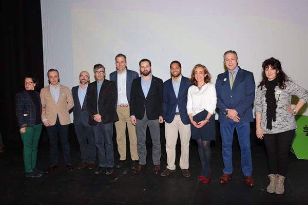 El nuevo presidente de VOX, Santiago Abascal Conde, durante su discurso hoy en la capital de España junto a la nueva Ejecuttiva de VOX. Lasvocesdelpueblo